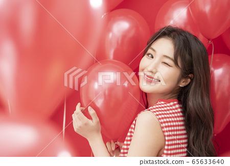 派對婦女氣球紅色 65633640