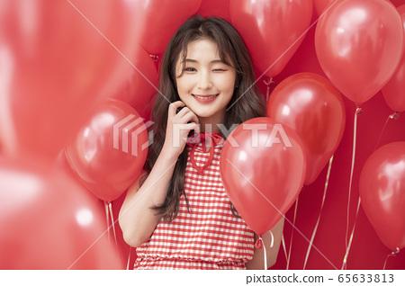 파티 여성 풍선 레드 65633813