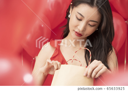 파티 여성 풍선 레드 65633925