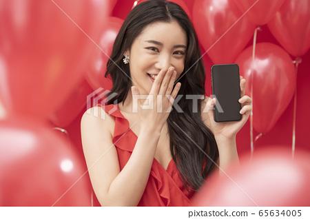 여성 풍선 레드 전자기기 65634005