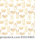 Seamless pattern with gold insects, art deco style 65634865