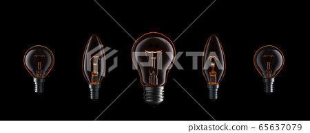 Collection of burning light bulbs. 65637079