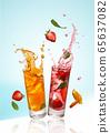 Summer fruit cocktails. 65637082