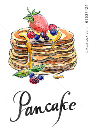 Watercolor pancakes with berries and maple syrup 65637424