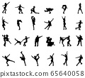 Black silhouettes of skating on a white background 65640058