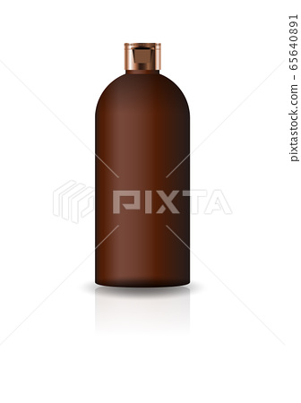 Blank brown cosmetic round bottle with cap lid for beauty or healthy product. Isolated on white background with reflection shadow. Ready to use for package design. Vector illustration. 65640891