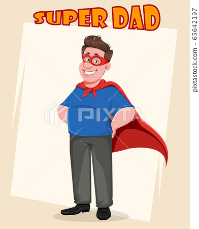 Father's day. Handsome dad in superhero costume 65642197