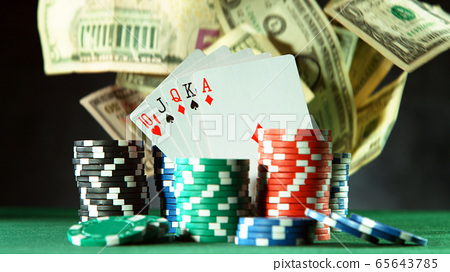 Falling US dollars in casino 65643785