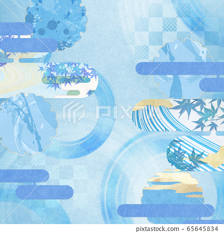 일본식 배경 소재 - 청량감 - 종이 - 여름 - 水紋 - 파문 65645834