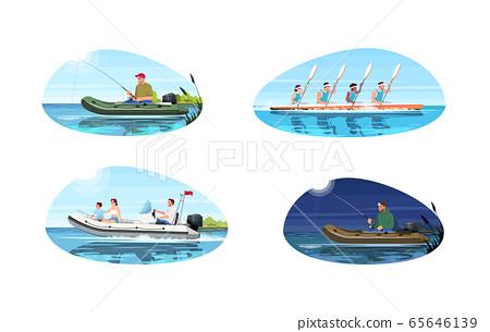 Boat types for activity semi flat vector illustration set 65646139