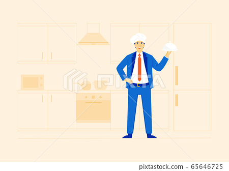 Virtual restaurant or cloud kitchen concept. Businessman wearing blue suit with chef's hat, holding cloche plate, standing in the kitchen. New normal. 65646725