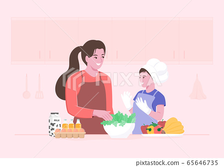Happy mom and little child preparing fresh vegetable salads in the kitchen. Kid participating in cooking. Flat cartoon character illustration. 65646735