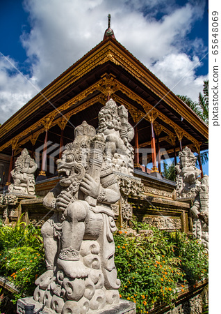 Ubud temple with pond in Bali Indonesia 65648069
