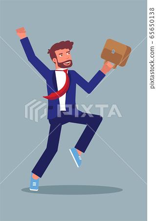 Happy businessman jumping flat character 65650138