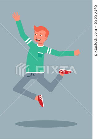Happy male student jumping flat character 65650145