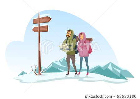 Winter travelers looking at map and road signs 65650180