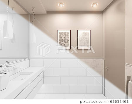 3D render, interior of the toilet in a private cottage. Toilet interior design illustration in traditional modern style 65652461