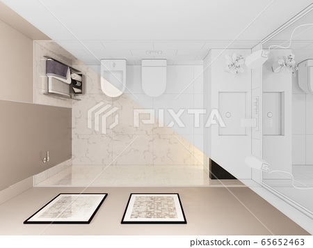 3D render, interior of the toilet in a private cottage. Toilet interior design illustration in traditional modern style 65652463