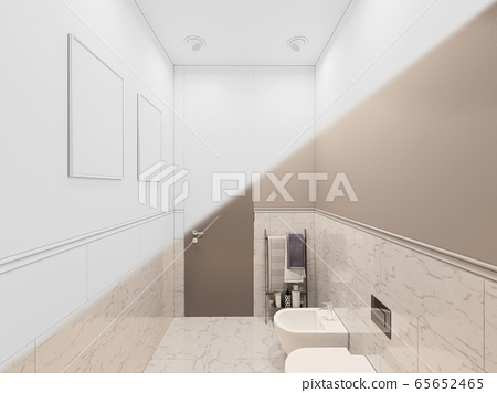 3D render, interior of the toilet in a private cottage. Toilet interior design illustration in traditional modern style 65652465