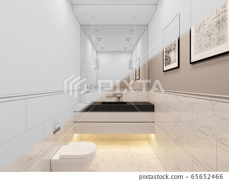 3D render, interior of the toilet in a private cottage. Toilet interior design illustration in traditional modern style 65652466