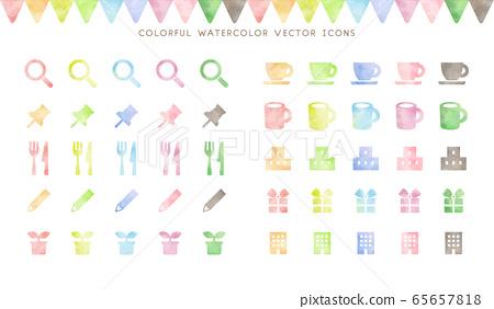手繪風格彩色水彩圖標集 65657818