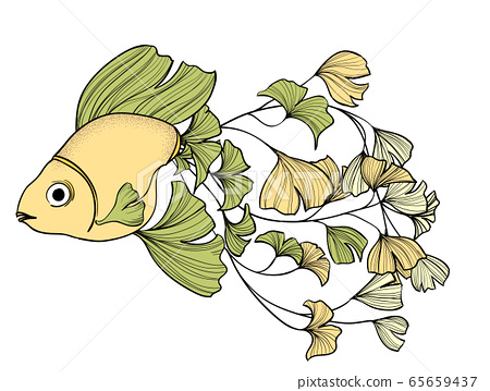 Goldfish with ginkgo leaves tail 65659437