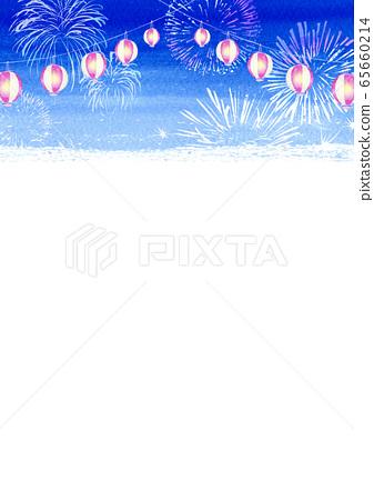 등불 축제 여름 축제 수채화 일러스트 세로 65660214