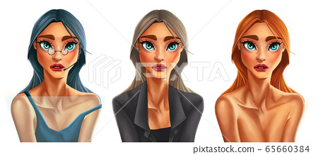 Digital painting woman in defferent styles 65660384