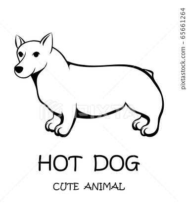 Black line vector illustration cartoon on a white background of a cute long and short dog 65661264