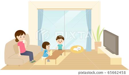 一個家庭在客廳裡消費 65662458