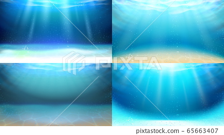 Underwater Space Sunrays And Bubbles Set Vector 65663407