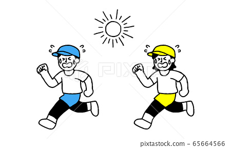Men and women wearing running wear that run hot while sweating under the sun (simple) 65664566