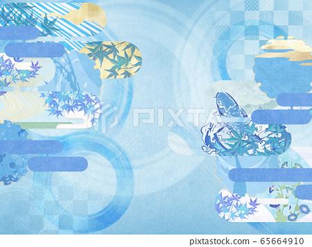 일본식 배경 소재 - 청량감 - 종이 - 여름 - 水紋 - 파문 65664910