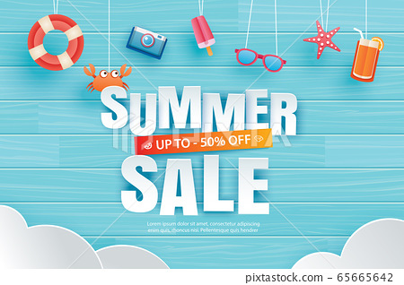 Summer sale with decoration origami hanging  65665642