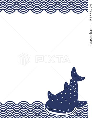 鯨鯊日式Tenugui Aominami 1C垂直 65666224