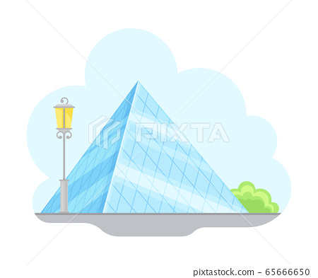 Paris Street View with Louvre Glass Pyramid Vector Illustration 65666650