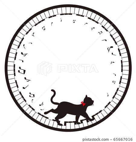 Circle frame of keyboard and cat (no background) 65667016