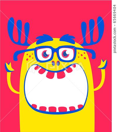 Angry Orange Cartoon Monster With Horns Big Stock Illustration 65669484 Pixta