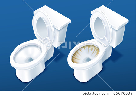 Comparison of two toilet bowls 65670635