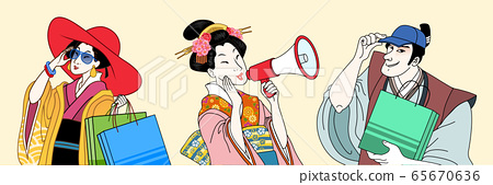 Fashion ukiyo-e people set 65670636