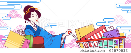 Ukiyo-e shopping festival banner 65670638