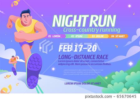 Night run event illustration 65670645