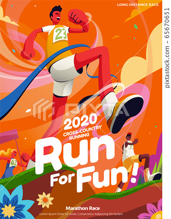 Cross-country running event poster 65670651