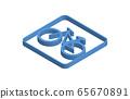 自行車藍色等距圖標說明 65670891