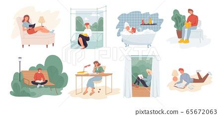 People reading book education leisure scene set 65672063