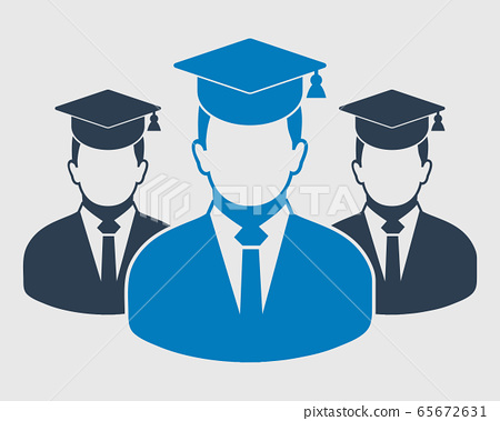 Graduate Student Team Icon. Male symbols with cap on head. Flat style vector EPS. 65672631