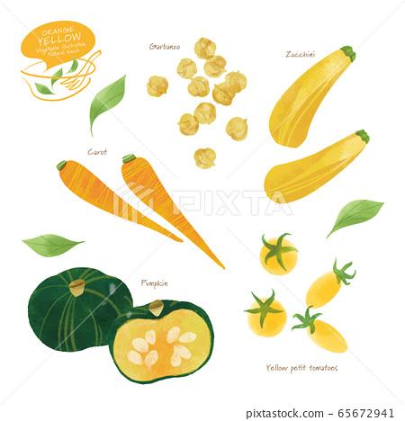 黃色蔬菜插圖/什錦/手繪風格 65672941