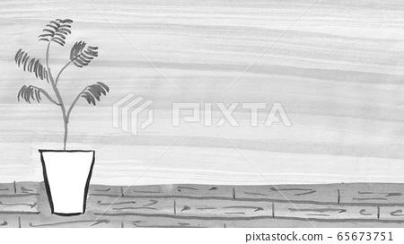 관엽 식물과 벽 (먹물 그린 일러스트) 65673751