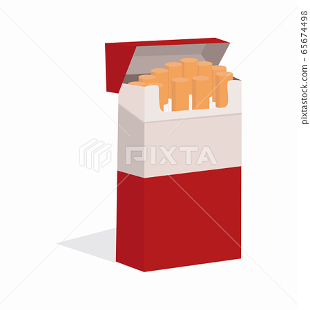 Open cigarettes in red pack 65674498