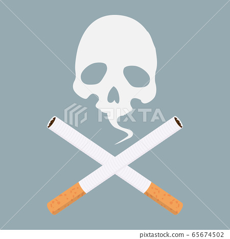 Cigarette icon vector with skull 65674502